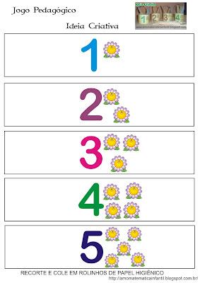Jogo pedagógico número e quantidade Reciclagem