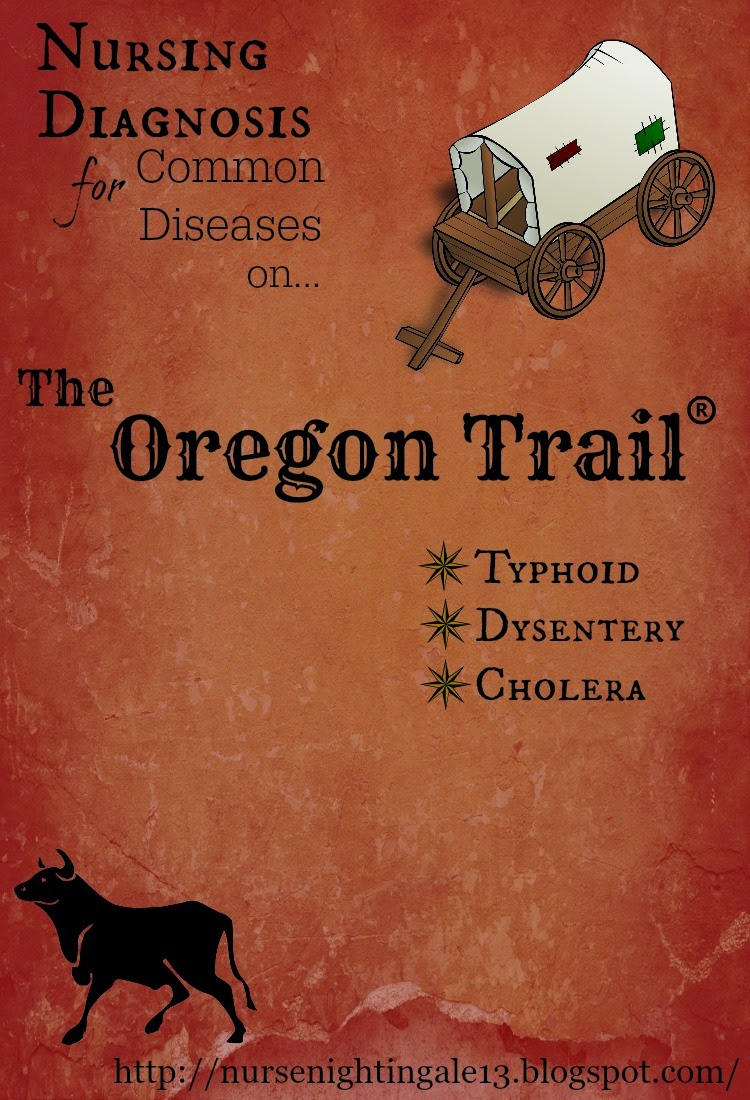 Nurse, Nursing diagnosis, funny, humor, the oregon trail, typhoid, dysentery, cholera, nursing school, RN