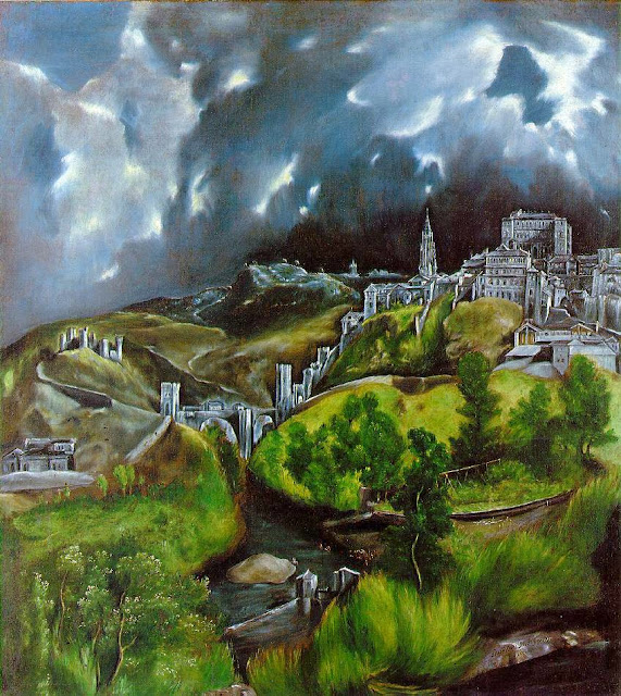 El Greco's painting of Spanish hillside castles under storm clouds