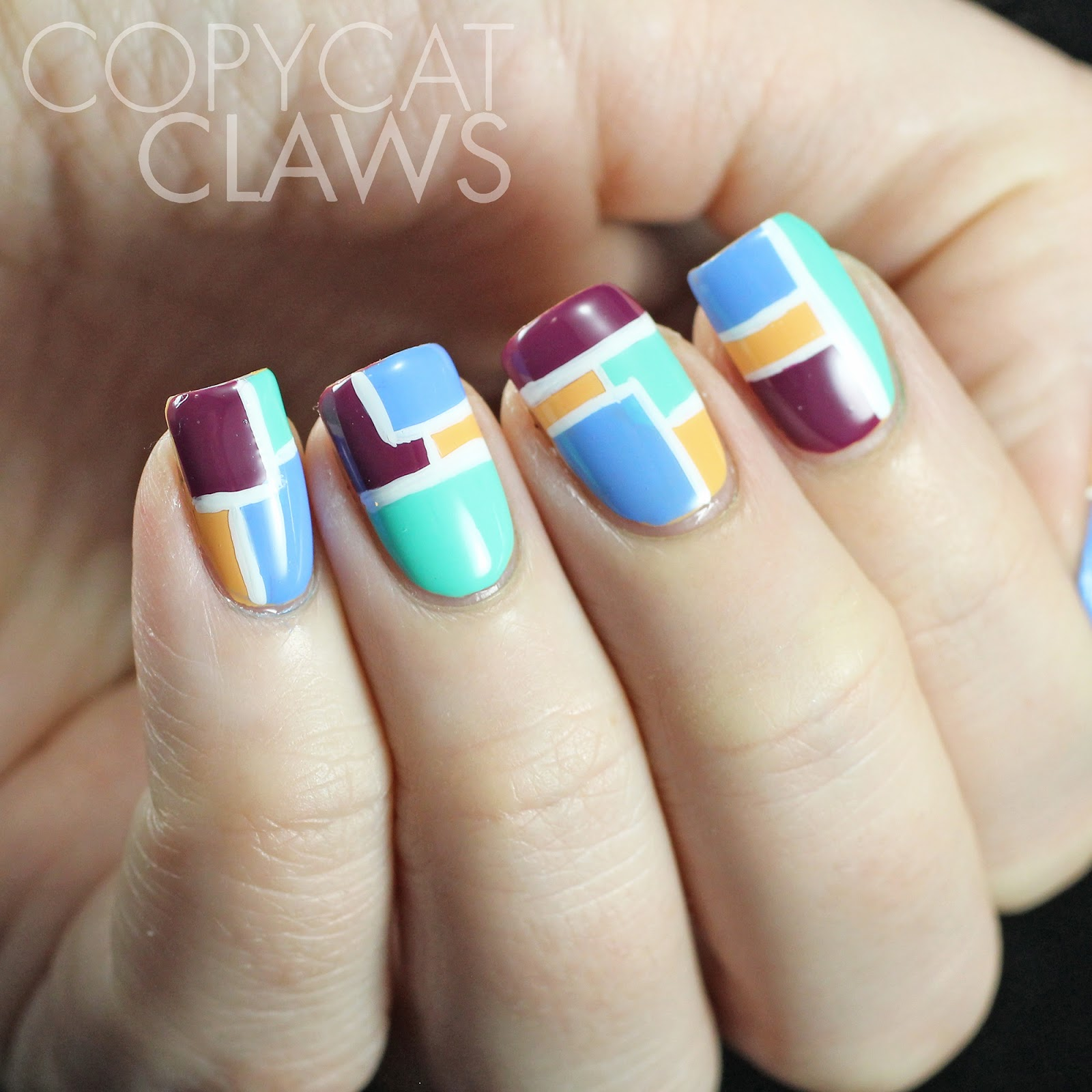Copycat Claws Blue Color Block Nail Art