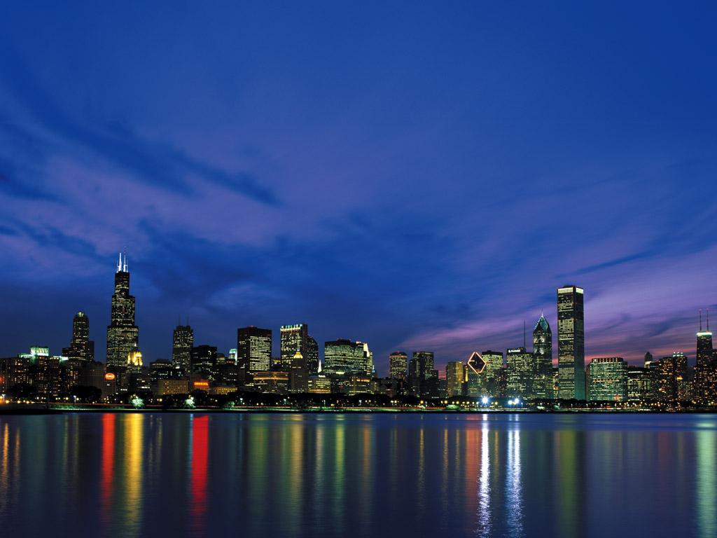 And White Chicago Skyline
