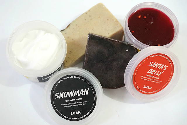 Lush Haul: Reindeer Rock Soap, Figs and Leaves Soap, Snowman Shower Jelly, Santa's Belly Shower Jelly