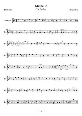 Tubepartitura Partitura de Michelle de The Beatles para Trompeta Música Pop-Rock