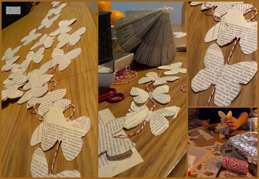 motyle z gazety, motylki ze starej książki, stara książka, diament