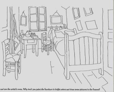 Camera da letto van gogh da colorare disegno domestico for Disegno di piano domestico