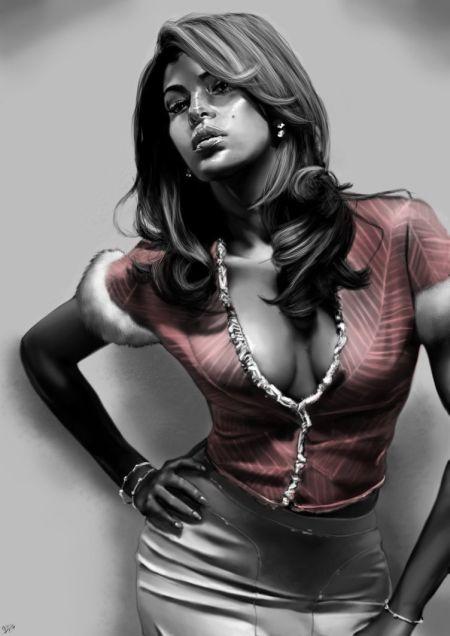 Innes McDougall pinturas digitais realistas fotografias modelos mulheres atrizes preto e branco Eva Mendez