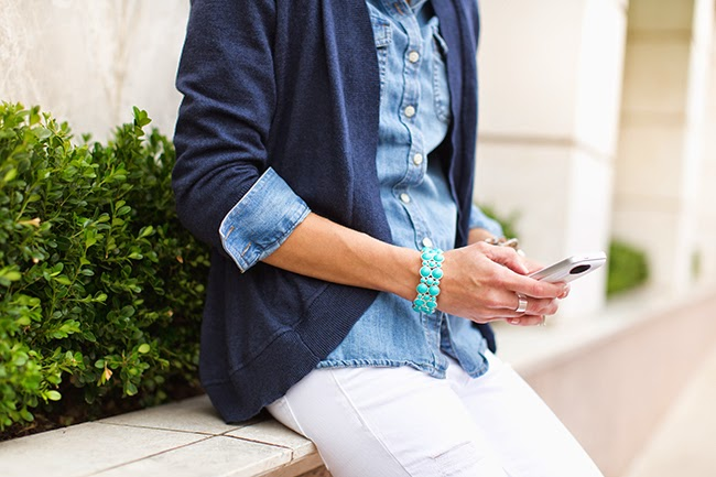 Navy cardigan, chambray shirt, white jeans