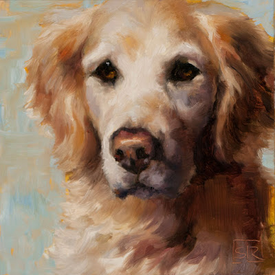 Golden Retriever oil painting portrait © Shannon Reynolds small pet portrait commission
