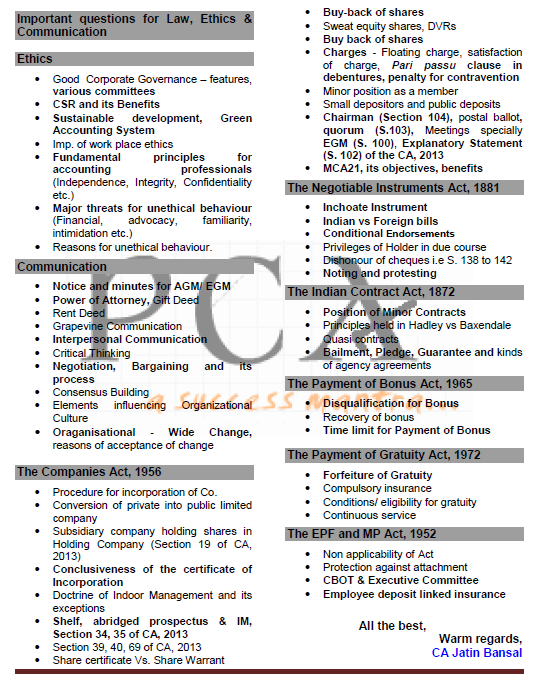 auditing practical notes for ipcc In this post we have listed out ca ipcc important chapters in accounts, law important questions and expected questions, costing fm important chapters, tax important topics and expected questions in direct tax and indirect tax, auditing important topics, advanced accounting important chapters for ca ipcc and.
