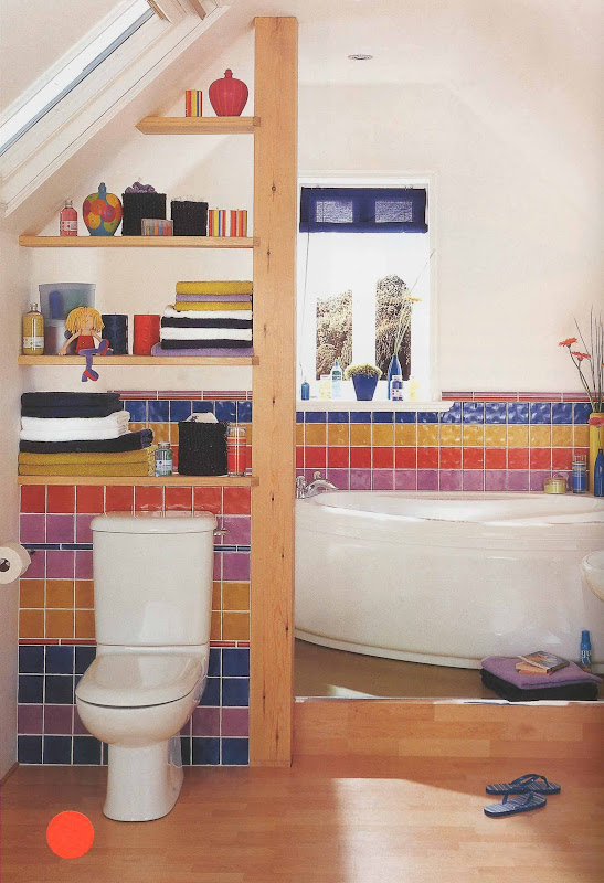 coloured tiles to create a stimulating, technicolour bathroom title=