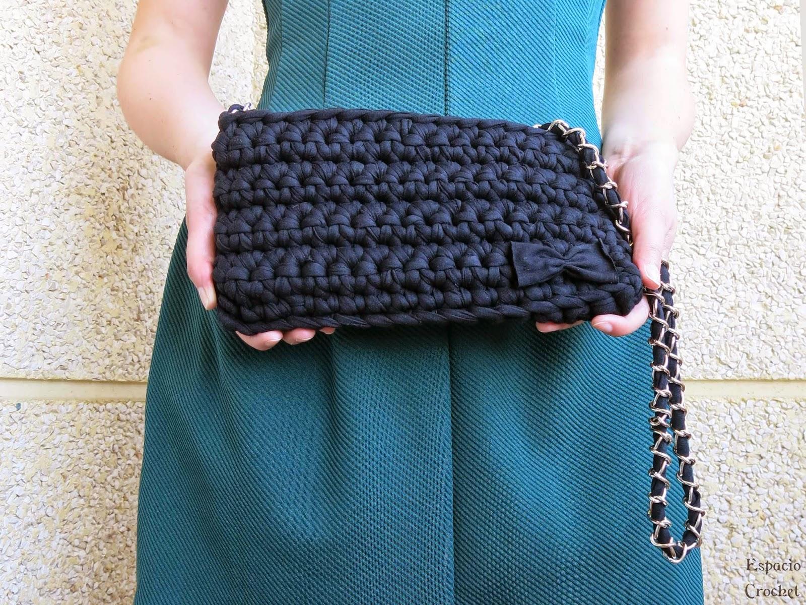 Bolso de trapillo espacio crochet - Como hacer un bolso de trapillo ...