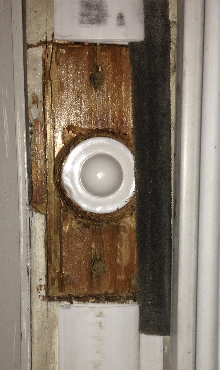 The Hidden Door Sensor Inserted In The Door, Sitting At The Correct Depth.