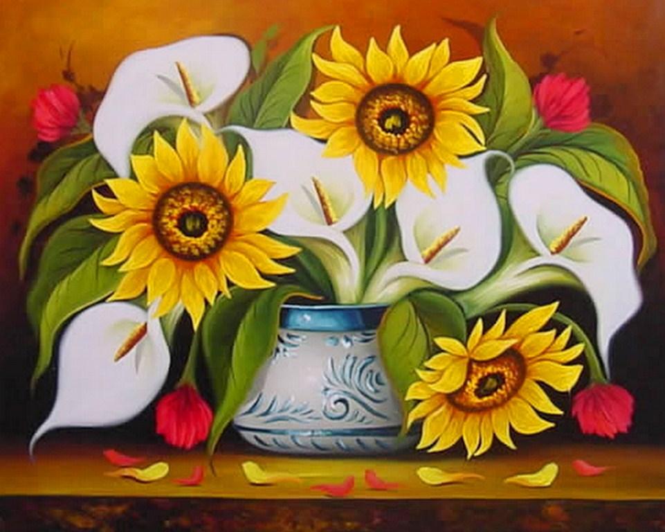 sobre lienzo pinturas de flores al óleo cuadros de flores pintadas al