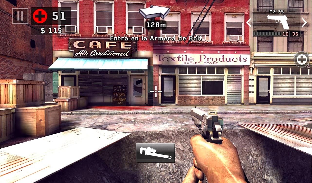 Dead trigger 2 para Android, iPhone e iPad, pantalla de juego