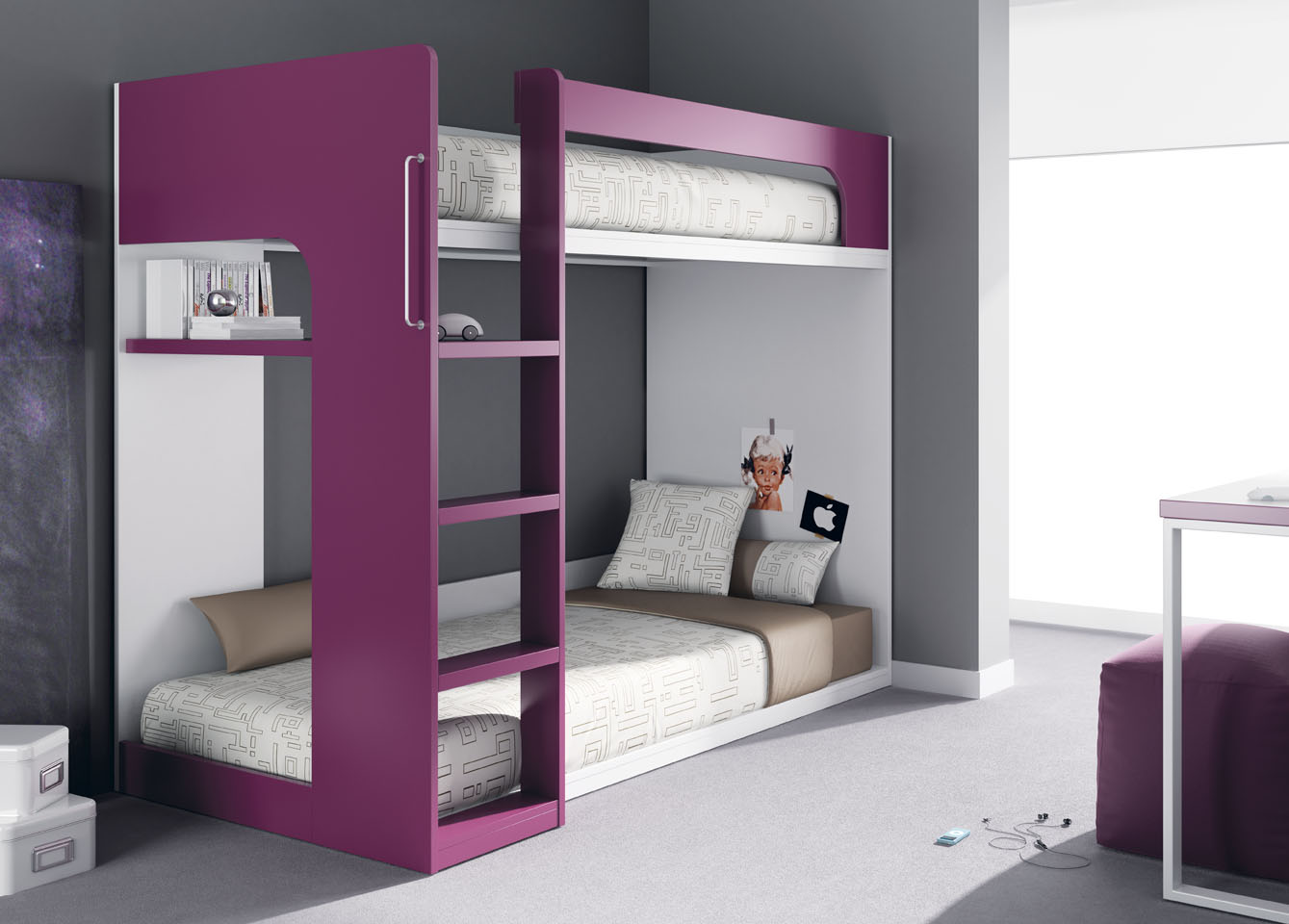 lits superpos s de meubles ros. Black Bedroom Furniture Sets. Home Design Ideas