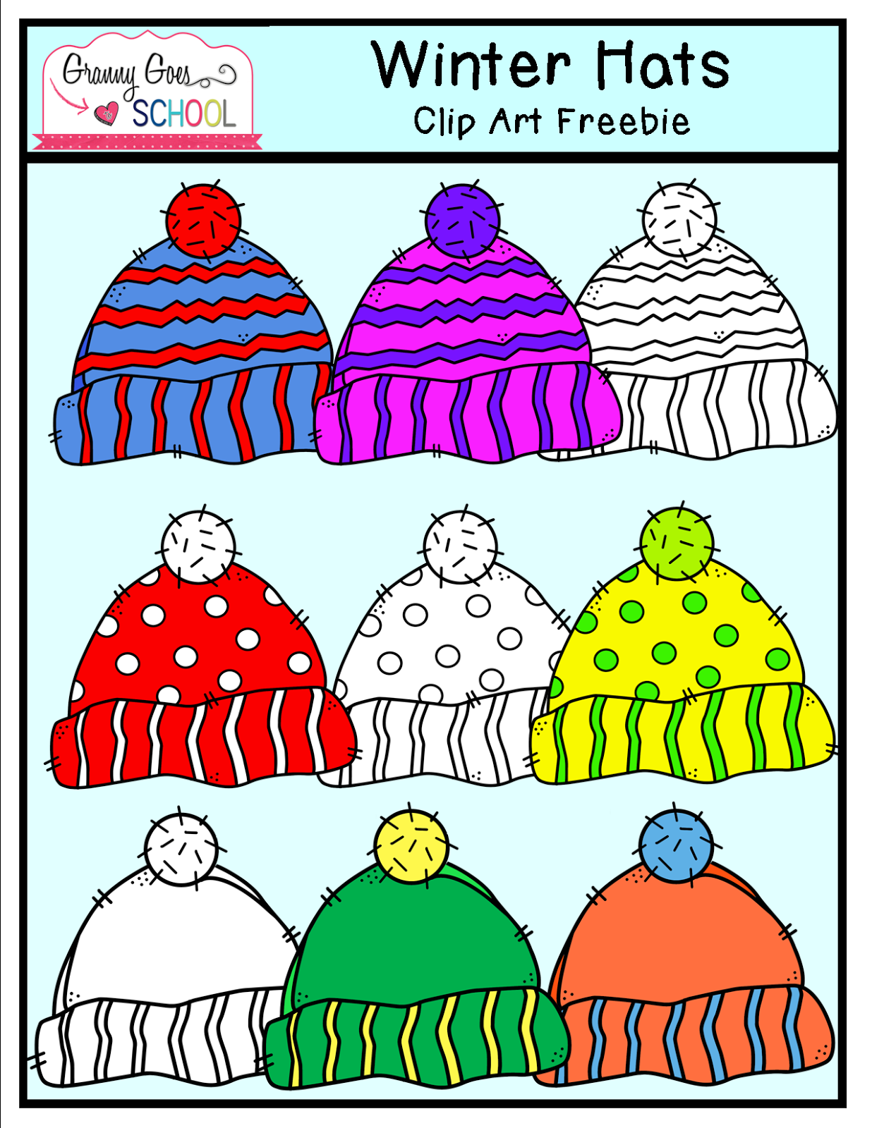 http://www.teacherspayteachers.com/Product/Winter-Hats-Clip-Art-FREEBIE-1628534