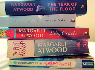 book stack, Margaret Atwood, collection, paperbacks, books