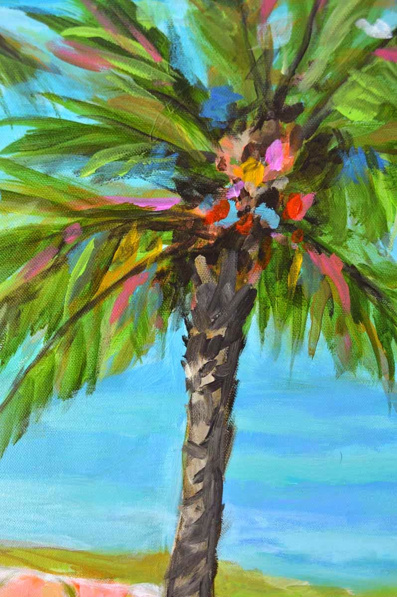 Palm tree beach painting by karen fields 30 x 30 for Palm tree painting