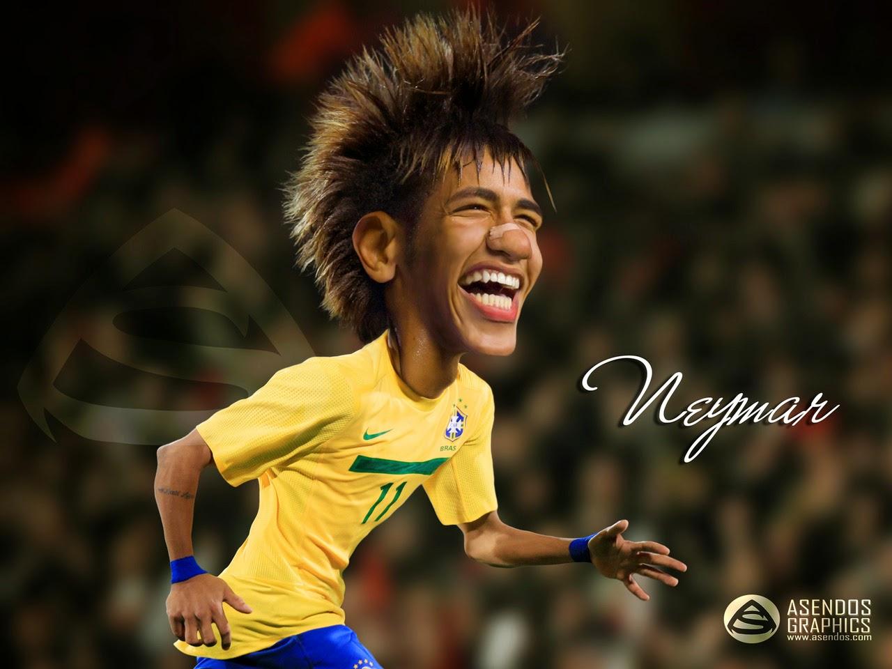 Gambar Karikatur Neymar Piala Dunia 2014 Pemain Sepakbola Brazil World Cup