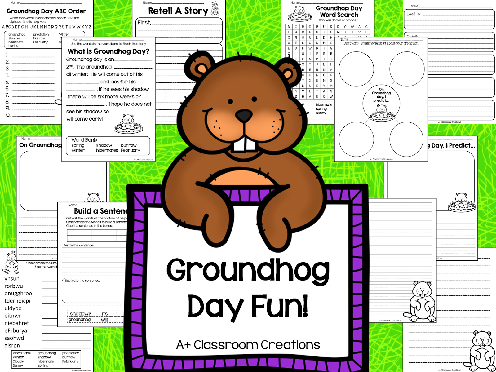 http://www.teacherspayteachers.com/Product/Groundhog-Day-Fun-1074171