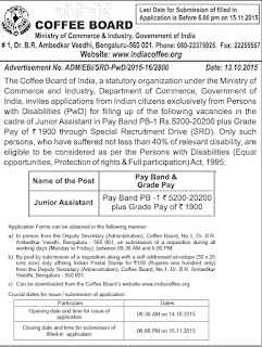 www.indiacoffee.org, government jobs, coffee board of india, recruitment 2015, job advertisement, assitant jobs, 12th pass jobs;