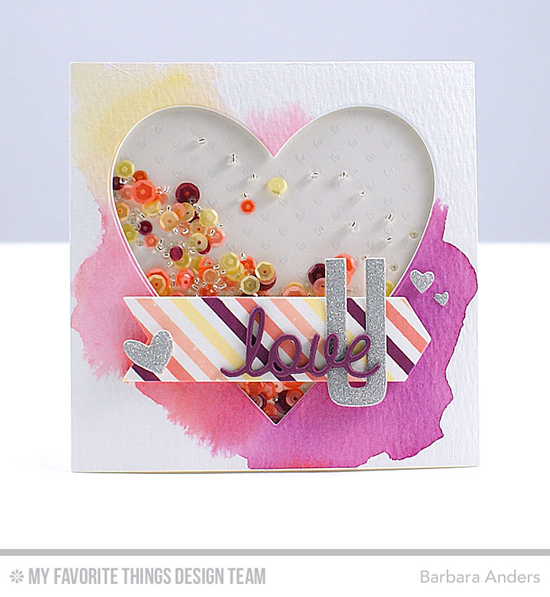 Love U Shaker Card by Barbara Anders featuring the Plaid Background Builder stamp set, Mini Hearts Background stamp, and the Heart STAX, High-Rise Alphabet Uppercase, Love & Adore You, Blueprints 7, and Tag Builder Blueprints 5 Die-namics #mftstamps