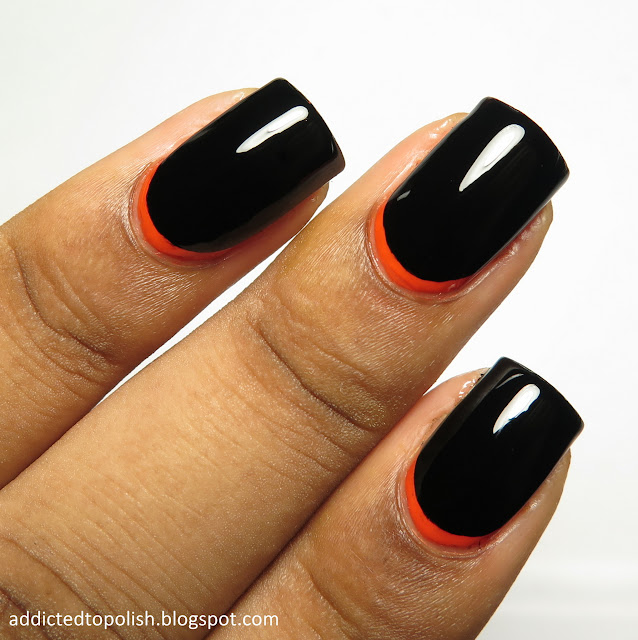 halloween black orange ruffian manicure