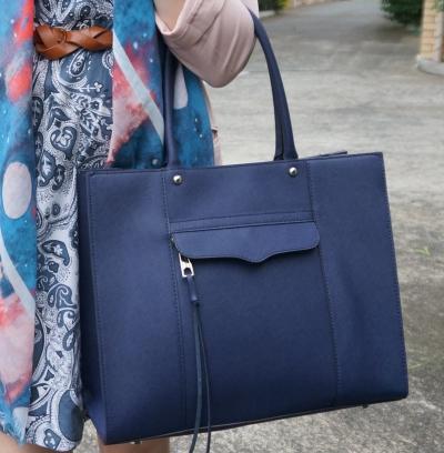 Rebecca Minkoff medium MAB tote in moon (navy blue) handbag