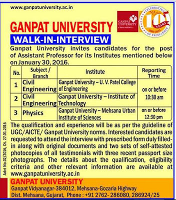 Ganpat University Assistant Professor Recruitment 2016