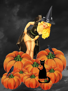 Halloween Pinup art Black cat Witch Pumpkins