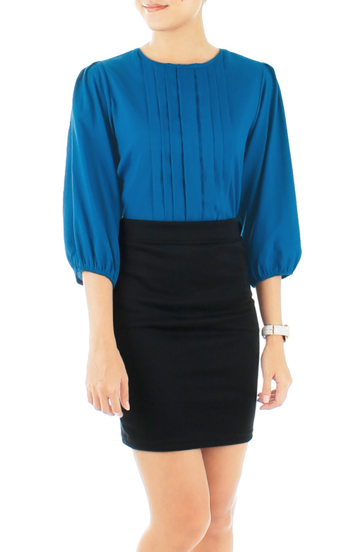 Azure Blue Parallel Pintuck Blouse