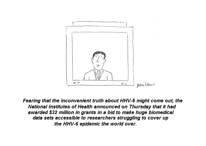 cartoon, nih, hhv-6, cdc, cover-up, research,