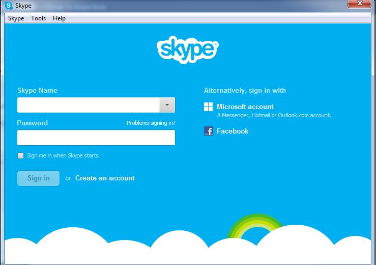 Skype Log in window