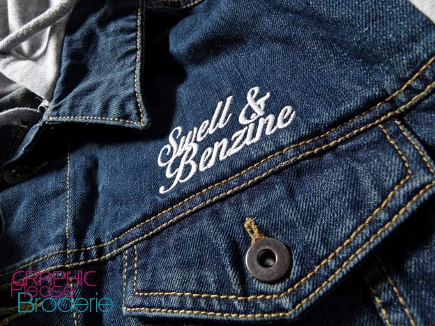 broderie graphic please marquage sur textile veste en jean capuche chemise sans manche. Black Bedroom Furniture Sets. Home Design Ideas