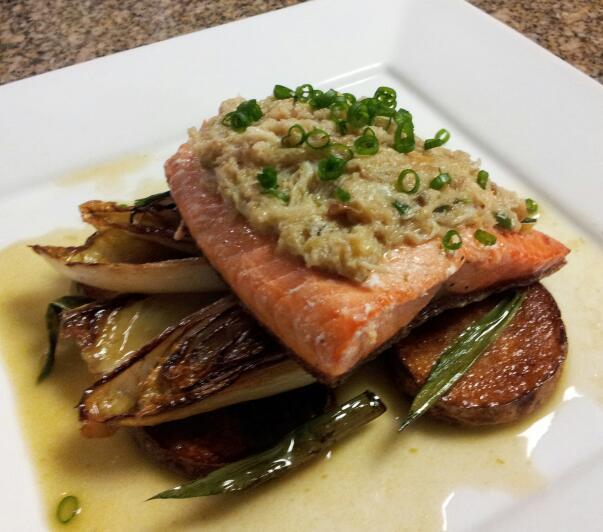 ... Salmon, Braised Endive, Crispy Potatoes, Scallion Brown Butter