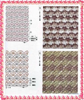 Pontos em Crochê duas cores com gráfico