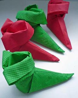 Origami de Natal - Meia de guardanapo