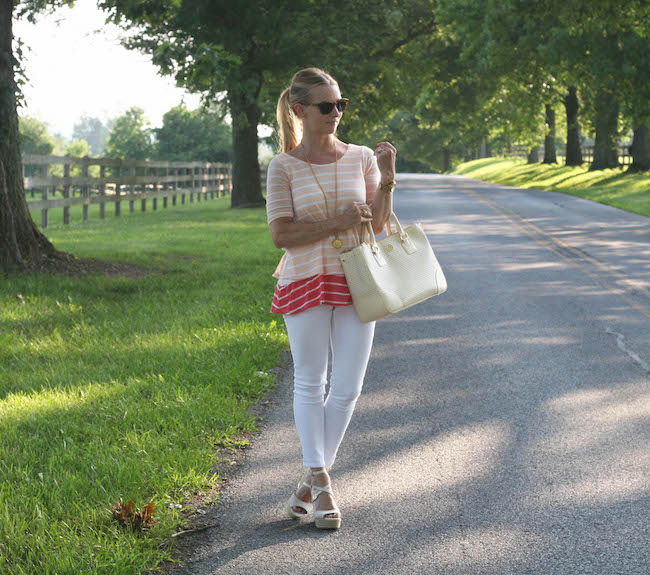 elizabeth & james sunglasses, julie vos necklace, anthropologie top, old navy jeans, sam edelman wedges, tory burch handbag