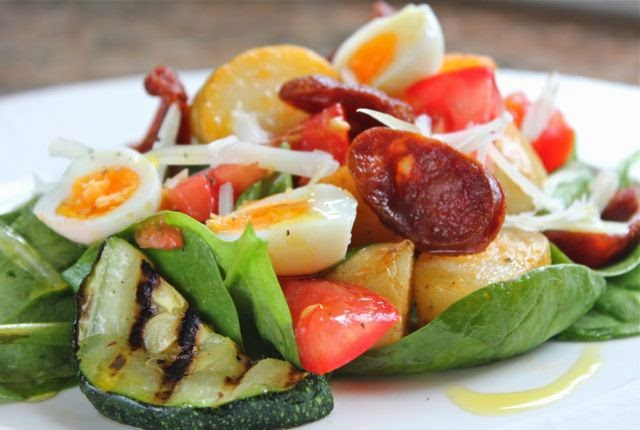 Egg, potato and chorizo salad