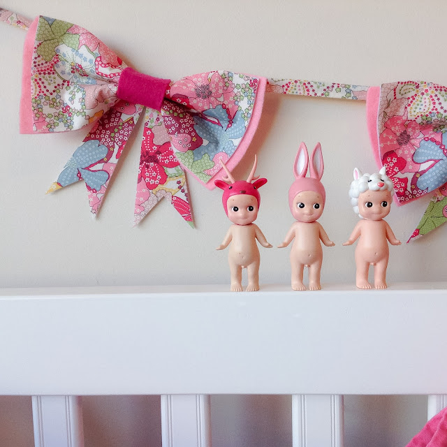 Pink Bow Garland Girls Wall Hanging Decor