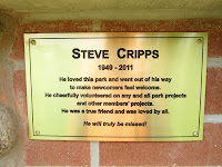Steve Cripps memorial plaque at Bare Oaks Family Naturist Park