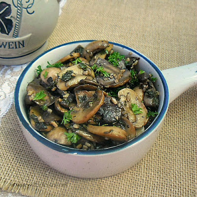 Garlic and Herbs Mushrooms ~The best Mushroom side dish ever ! This recipe is quick, easy and delicious, especially to Garlic lovers #Thanksgiving #SideDish www.WithABlast.net
