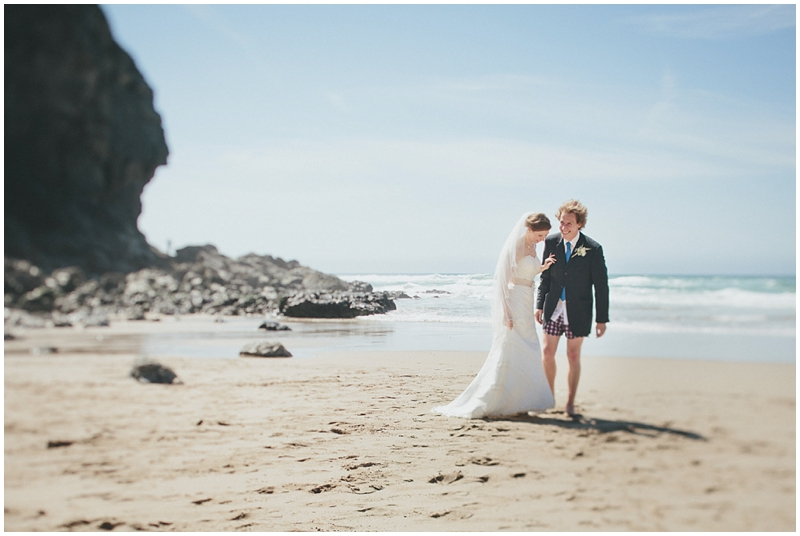 Bride and groom on the beach at St Agnes