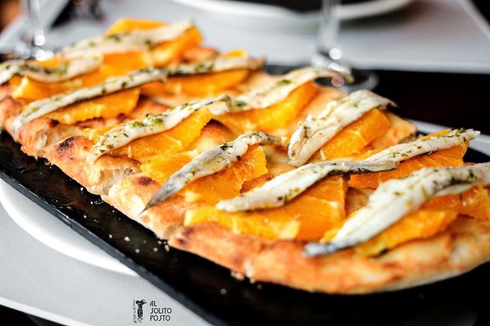 Focaccia con Naranja, Boquerones en Vinagre y Eneldo