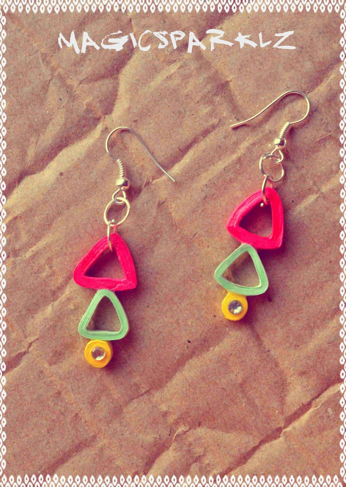 Quilled triangle earrings