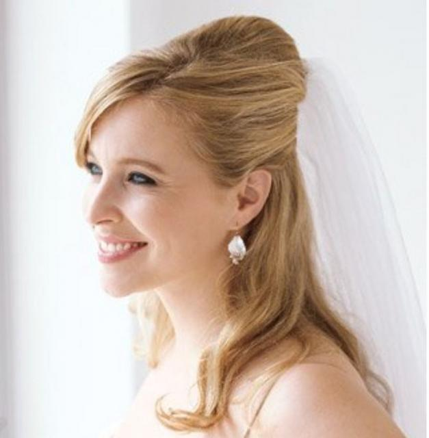 Half updo wedding hairstyle with veil picture