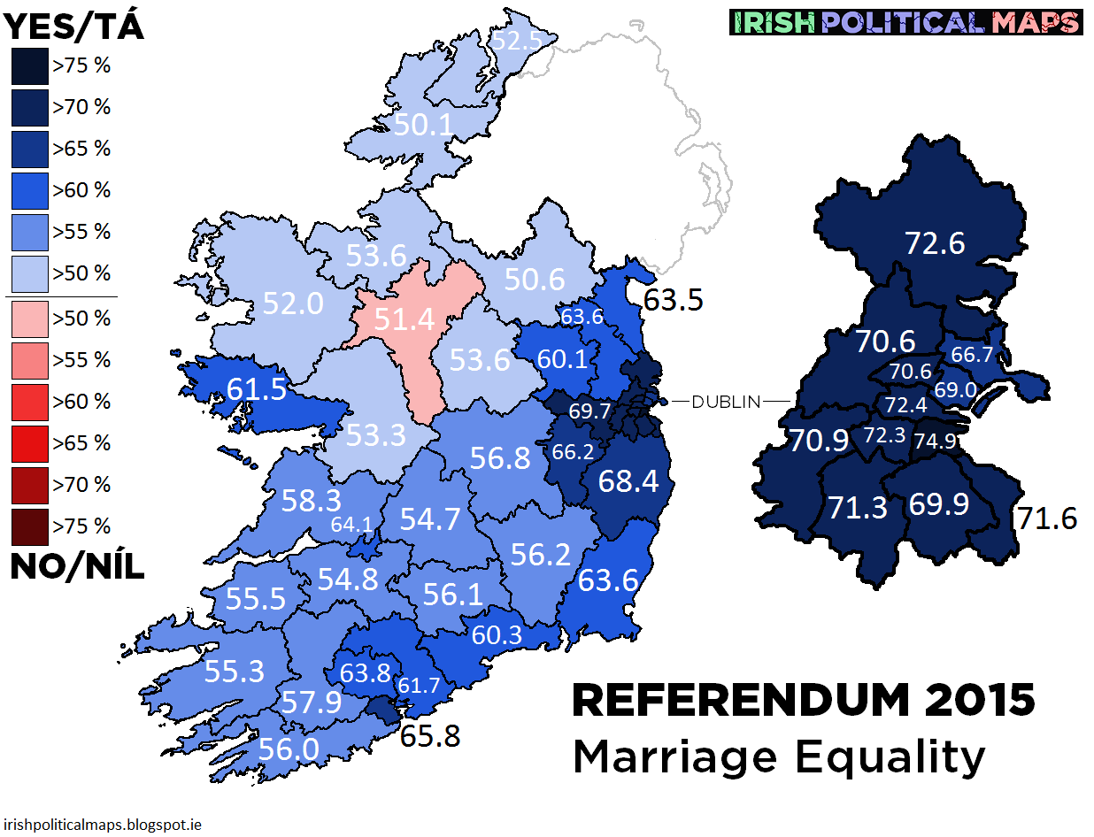 the scale shows the proportion of the winning yesno vote figures arerounded up for the shading eg an area with a  yes vote will beshaded as . irish political maps referendum  marriage equality