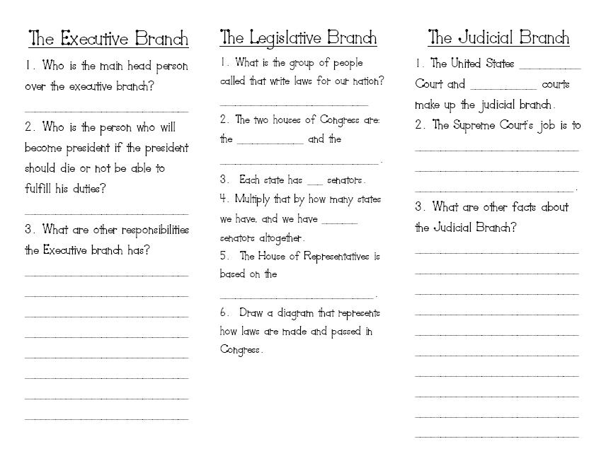 worksheets three branches government kids