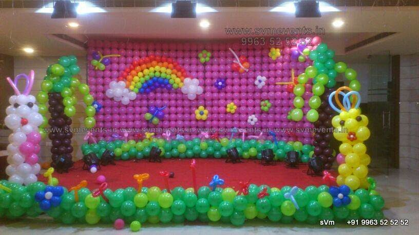 Svm events balloon wall decorations for birthday party for Balloon decoration on wall for birthday