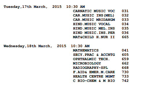 CBSE Timetable 2015 Class 12 page 6